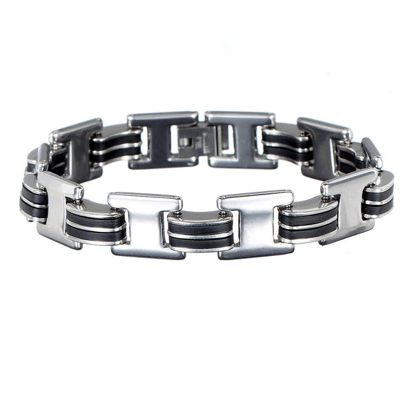 Mens Brushed Matt Stainless Steel Silver Bicycle Chain Bracelet. Stylish, Trendy and a Great Design. PerfectSafe Festive Christmas Gift Idea for Him. Great Price for Promotion