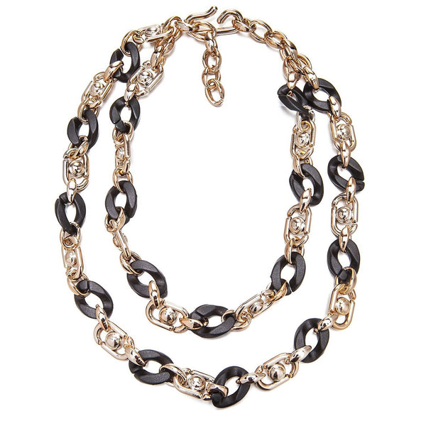 Faux Jet Black Shell & Lucite Rose Gold 2 Tier Layered Links Chunky Necklace Sale Christmas Gift Her. Chic Paris Haute Couture Designer Style Contemporary Statement Jewellery for a Perfect Stocking Filler.