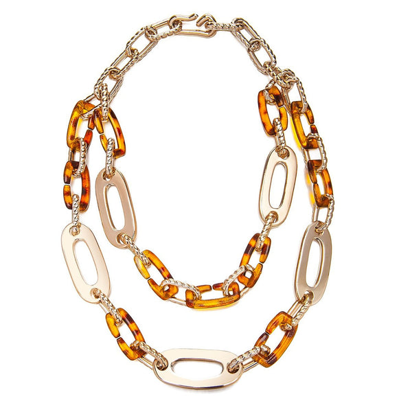 Faux Tortoise Shell & Lucite Rose Gold 2 Tier Layered Links Chunky Necklace Sale Christmas Gift Her. Black Viscose Cord & Faux Metal Designer Necklace at Great Price. Contemporary Statement Jewellery for a Perfect Stocking Filler.