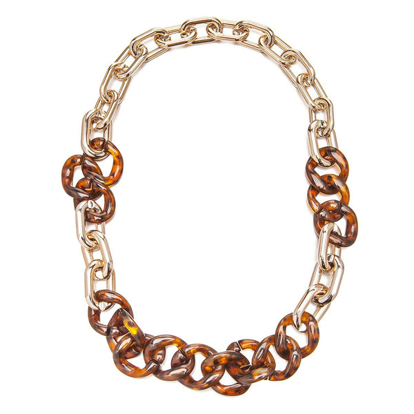 Faux Tortoise Shell & Lucite Rose Gold Links Chunky Necklace Sale Christmas Gift Her. Marbled Chunky Links and Faux Metal, Designer Necklace at Great Price. Contemporary Statement Jewellery for a Perfect Stocking Filler.