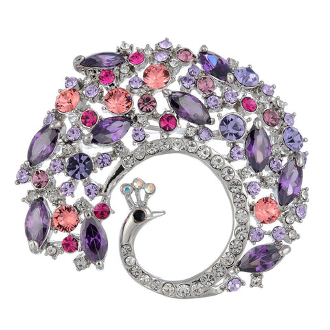 Stylised Sensational Ornate Peacock Brooch Pin Jewellery on anExquisite Setting Combining Pear Drop and Round Swarovski Crystals. Superb Colour Options: Amethyst, Emerald Green and Clear Diamond on 14K Gold or Silver Rhodium.