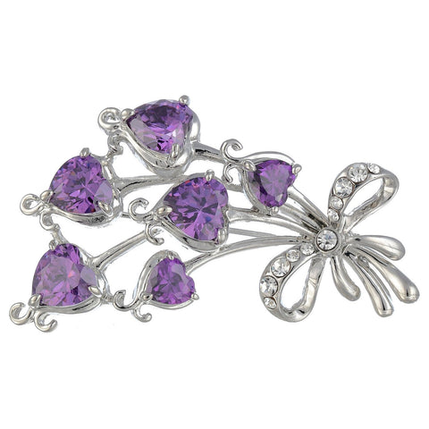"""I Love You"" Hearts Bouquet Brooch Pin Jewellery on anExquisite Setting Combining Heart Shaped Cut Crystals and Round Swarovski Crystals. 4 Colours: Siam Red, Champagne & Clear Diamond on 14K Gold, & the Amethyst Option on Silver Rhodium"