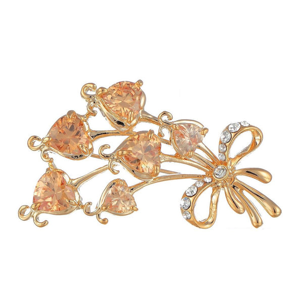 """I Love You"" Hearts Bouquet Brooch Pin Jewellery on an Exquisite Setting Combining Heart Shaped Cut Crystals and Round Austrian Crystals"