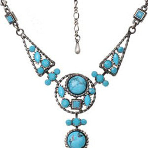 Great Gift Idea Vintage Christmas Jewellery Set in Swarovski Crystals & Turquoise Stones, Pendant Necklace & Pear Drop Earrings. 2 Beautiful Colour Options: Turquoise on Pewter and Scarlet & Turquoise on Copper. Stunning Gift Idea for Her, Prices Slashed