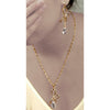 Christmas Crystal Pear Drop Necklace and Earrings in 14K Rose Gold Plating a Unique Decorative Fine Links and Ball Chain, Great Festive Gift