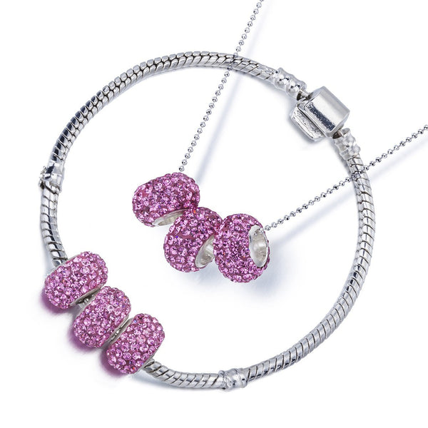 Swarovski Crystal Elements Charm Beads Necklace & Bangle Bracelet Set in Pandora Style, Silver Rhodium Fine Chain. Great Price for Luxury Style Jewellery.