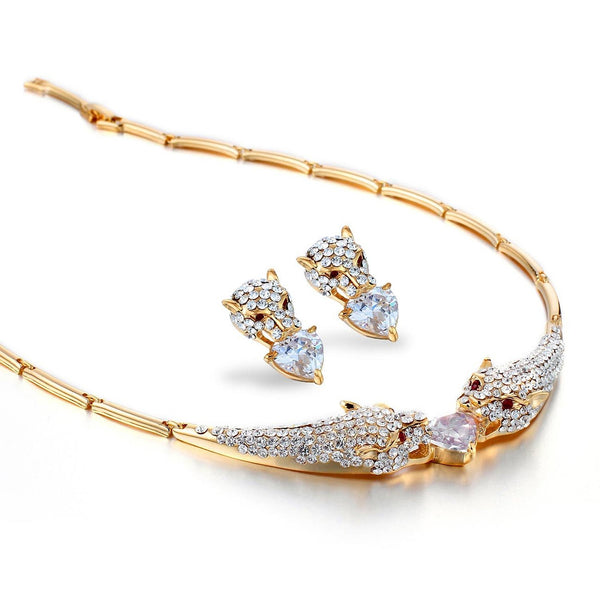 The Panther Cat and Hearts Set w/ matching Earrings on Links Chain Necklace;Luxury Haute Couture Jewellery reminiscent of French Designer CART. Clear Diamond Crystals on 14K Gold or Silver Rhodium and Red on Gold