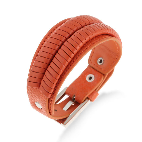 Gifts Ideas for Christmas or Anniversary; Designer Leather & Stainless Steel Bracelet, Trendy Unisex His and Her Wristband Jewellery. Classic Black, Burnt Orange and a Deep Red leather Watch strap fasten Bracelet.