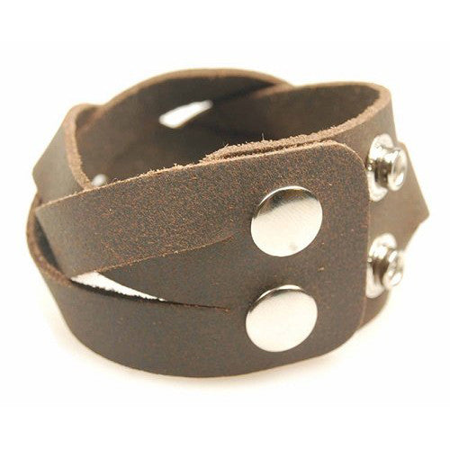 Mens Supple Soft Brown Genuine Leather Wristband Strap; Wide Platted Twist Strap Style with 2 Adjustable Close Positions for Size. A Real Masculine man Jewellery Great Christmas Gift Idea for Him.