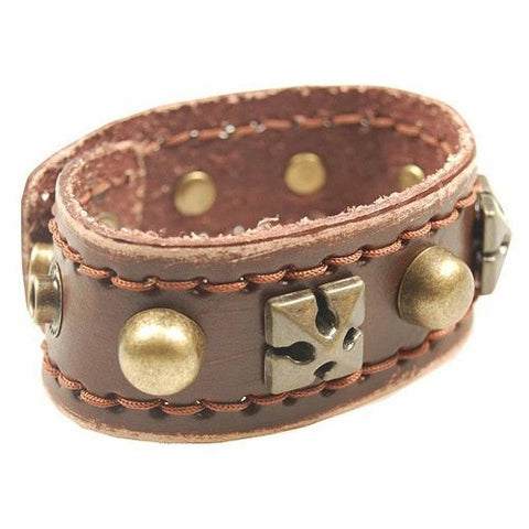 Mens Brown Celtic Gothic Cross and Stud Trendy Leather Wristband Strap. Beautiful Brass  Studs over a Antique Brown  leather Stitched strap. Study and Strong! Great Christmas Gift Idea for Him.Fab Design!