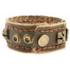 Mens Celtic Style Masculine Sturdy Wristband Strap Tan Brown Buffalo Leather, Antique  Effect Brass Brass Cross Studs.  Great Christmas Gift Idea for Him. Prices Slashed in our Christmas Shop. Fab Design and Great Price for leather!
