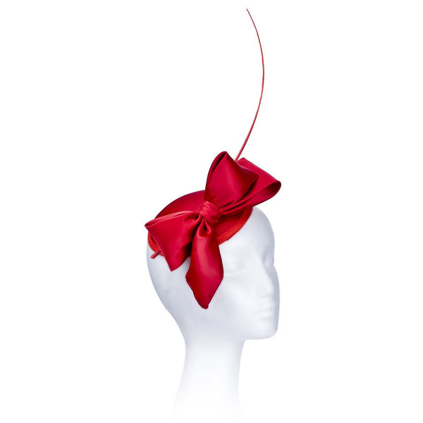 Janeo Middleton Style Mini Domed Pill Box Bow Fascinator Hat in Satin Fabric.  For Weddings or Special Occasions. Five Classic Versatile Colours: Ivory, Light Grey Classic Red, Dusky Heather Pink & Champagne.
