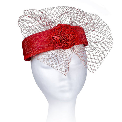 Janeo Royal Middleton Pillbox Fascinator Hat Headwear. Classic, Crisp and Clean Shape with Net Bows Fan and Fabric Rose Centre. Pearlised Satin Pill Box in Five Versatile Colours
