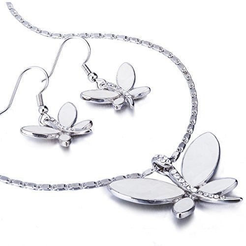 Beautiful Butterfly Mother of Pearl & Swarovski Crystal 3 Piece Jewellery Set. Part of The Elizabeth Collection from Janeo. Stunning Butterfly Inlaid w/ Crystals, Real Mother of Pearl Adorns a Delicate Chain Necklace, Bracelet and Elegant Earrings.