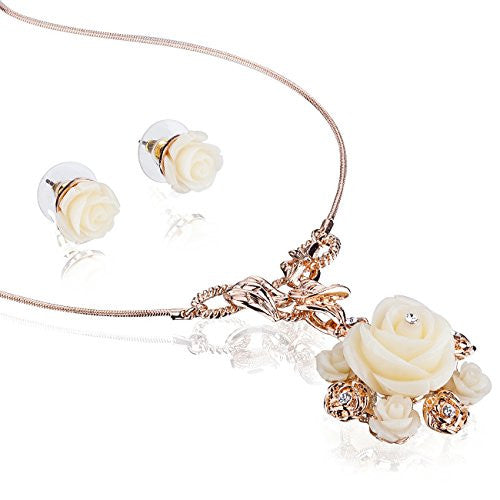 The Elizabethan Mother of Pearl Rose Pendant Necklace in Swarovski Crystal. Two Piece Jewellery Set w/ Matching Beautiful Cream Rose Earrings. Delicate Petals and Roses w/ Crystal Centres, FineRope Necklace, All on an Exquisite Rose Gold Setting.