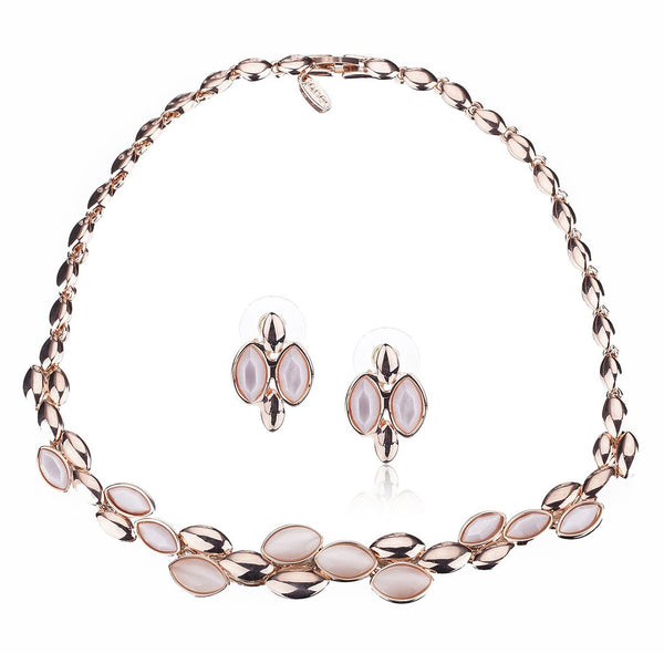 Stunning Leaf Design Contoured Necklace & Earrings Set, Inlaid w/ Semi-Precious Glass Gemstones in Amethyst or Peach. Part of The Elizabeth Collection from Janeo. Beautifully Arranged Layered Leaves.