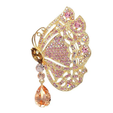Stunning Exclusive Swarovski Crystals Stylised Edwardian Butterfly Antique Brooch Pin. Incredibly Detailed 14k Gold Plated Wings with a Dangling Pear Drop Crystal. Two Gorgeous Colour Options: Fuchsia & Topaz or Clear AB & Brown on 14k Gold.