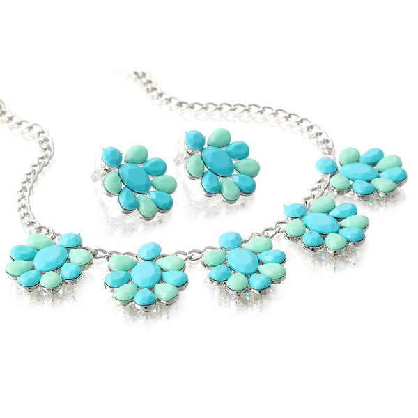 Janeo Cut Resin Crystals Contemporary Jewellery Set. Flower Clusters on 14k Gold or Rhodium Cups. Turquoise Jade or Pink Mint Options. Stunning Design for Any Occasion, Great Price for a 2 Piece Set.