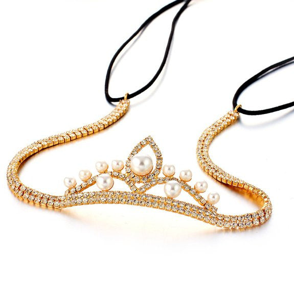 Janeo Genuine Swarovski Crystal Elements Hair Band in 14k Gold Plating. A Real Stunning & Glamorous Minimalistic Style on a Cup Chain Arrangement with a Centre Crown with Ivory Pearls. A Unique Design for  Very Special Occasion, Perfect Wedding Jewellery.