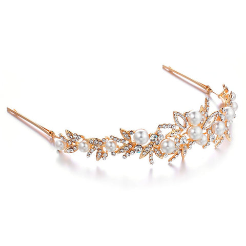 Janeo Genuine Swarovski Crystal Elements Tiara Crown Style Hair Band in 14k Gold.The Royal Elizabeth Tiara w/ Ivory Pearls and Clear Crystal Floral Wreath Arrangement. Dramatic, Solid, and Intricate Design. Classic Victorian Vintage Look.