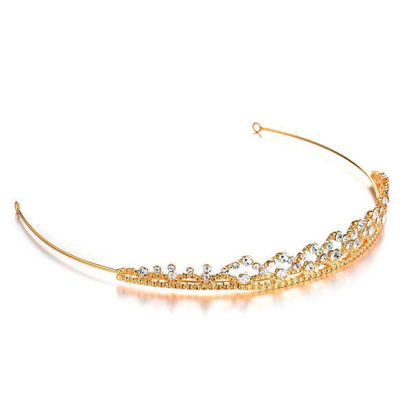 Janeo Genuine Swarovski Crystal Elements Tiara Crown Style Hair Band in 14k Gold or Silver Rhodium Plating Options. A Real Royal Style Elegant Design for a Very Special Occasion. Classic Victorian Vintage Design. Great Price.