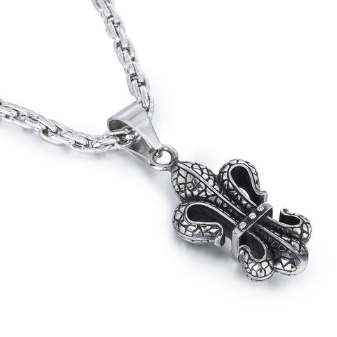 Janeo Men's Jewellery, Royal Fleur De Lis Style Pendant Necklace in Classic Antique Stainless Steel.  Thick, Unique Chain Design. A Real Solid Chunky Style. Perfect Birthday or Christmas Gift For Him. Great Price.