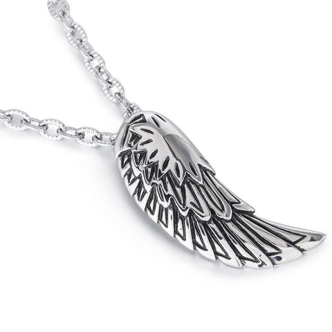 Janeo Men'sTrendy Stylised AngelPendant Necklace in Classic Stainless Steel. Unique, Textured Links Chain Design. Magnificent Design As a Sign of Love &Peace. Dainty, Cute and a perfect gift idea at Birthday Anniversary or Christmas for him. Great Price.