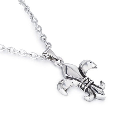 Janeo Men's Timeless Classic ParisianFleur De LisStyle Pendant Necklace in Stainless Steel. Stunning Jewellery For Him but Also Suitable For Her. Textured Links Detail Chain.Perfect Birthday or Christmas Gift For Him.