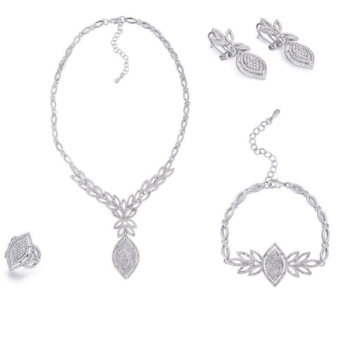 4 Pieces Jewelry Set of Distinction, Quality Costume Jewellery w/ Swarovski Crystals Elements, Totally Hand Crafted. Named the 'Jaipur Quartet', Stunning Necklace, Bracelet, Earrings and Ring Set. Gift Boxed Ready. 14K Gold or Silver Rhodium.