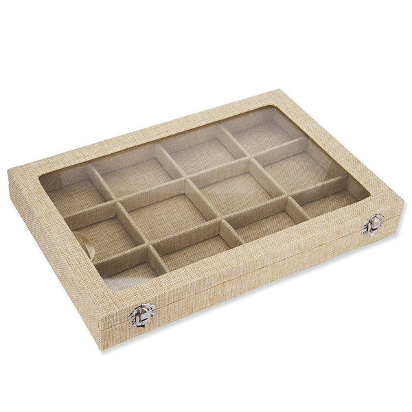 Stylish Contemporary Jewellery Gift Storage Compartment Box, Tray Style. Luxurious Hessian Linen Fabric Covered. Safe Glass Style Lid with Hessian Border. Luxurious Linen Finish in 3 Colours -  Natural, Mocha and Grape.