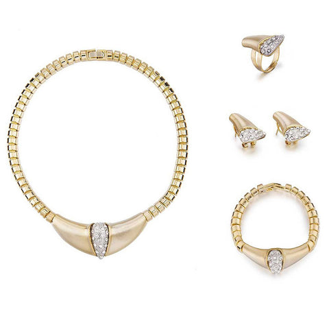 4 Pieces Cart Style Designer Cocktail Jewelry Set, Costume Jewellery w/ Swarovski Crystals Elements, Brushed Gold & Silver Crystals Detail Stunning Necklace, Bracelet, Earrings and Ring Set. Great Value for 4 pieces in one! 14K Gold Plating.