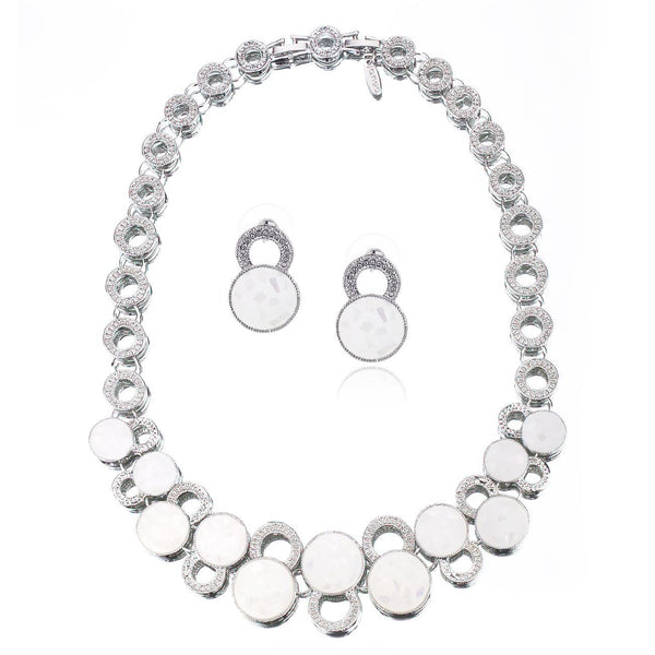 Queen Mary Set; Real Mother of Pearl Jewellery on 14K Rose Gold or Silver Rhodium; 3 Piece Set. Part of the Elizabeth Collection from Janeojewels. Circular Glistening Pearl discs Inlaid on two tier mounts. Round Necklace, Bracelet and Stunning Earrings.