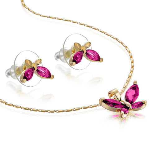 Luxury Budget Gift Ideas For Her, 14K Gold or Silver Rhodium Plated Butterfly Necklace & Earrings Set. Great Value for semi-precious Plating and Finest Czech Pear drops Crystals. Dainty, Elegant, Every day and everlasting Style.