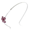Janeo Genuine Swarovski Crystal Elements Fuchsia Floral Hair Band in Silver Rhodium Plating Options. A Real Royal Style Elegant  Design for a Very Special Occasion. Quality Jewellery Using Finest Crystals and Semi-Precious Metals.