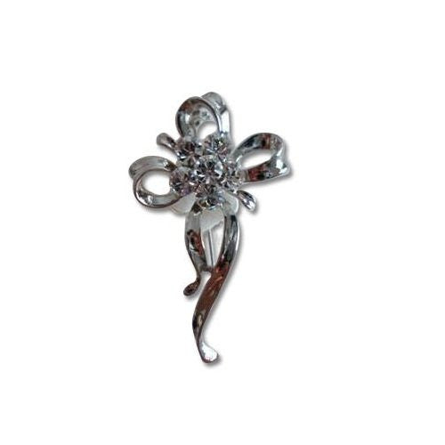 Contemporary & Vintage Brooch Pins at Bargain price; Swarovski and Czech Crystals Mix. Clover & Bows Classic Edwardian Design. Timeless Dress & Coat Jewellery, 2 Colours options, Clear Diamond on Rhodium Silver, or Red on 14K Gold Plating.