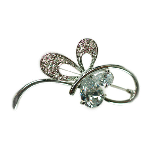 Contemporary & Stylish Brooch Pins at Bargain price; Swarovski and Czech Crystals Mix. Stylised Paisley Contour Brooch. Timeless Dress & Coat Jewellery, Clear Diamond on Rhodium Silver, Bargain Sale, Limited Stocks.