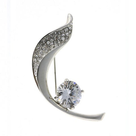 Brooch Pins at Bargain price; Swarovski and Czech Crystals Mix. Stylised Leaf & Rose Bud Brooch. Timeless Dress & Coat Jewellery, Clear Diamond on Rhodium Silver, Bargain Sale, Limited Stocks.