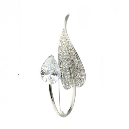 Art Deco Costume Jewellery Brooch Pin at Bargain price; Swarovski and Czech Crystals Mix. Stylised Leaf & Pear Drop Brooch. Timeless Dress & Coat Jewellery, Clear Diamond or Amethyst on Rhodium Silver, Gift Wrapped, on Bargain Sale