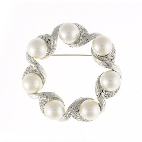 The Emperor Crest Classic Vintage Costume Jewellery Brooch Pin at Bargain price; Swarovski Crystals& Ivory Pearls Mix. Stylish All Crystals Round. Timeless Dress Coat or Bridal Jewellery, Clear Diamondon 14K Gold, Gift Wrapped, on Bargain Sale