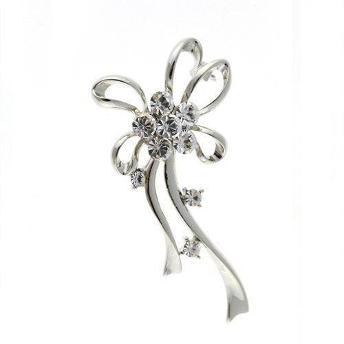 Pygmalion Classic Vintage Costume Jewellery Brooch Pin at Bargain price; Swarovski and Czech Crystals Mix. Stylised Bows and Loops. Timeless Dress & Coat Jewellery, Clear Diamondon Rhodium Silver, Gift Wrapped, on Bargain Sale