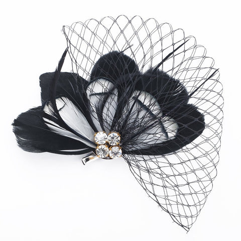 Janeo Headwear AUSTIN Rose Fascinator; Flirtatious Feathers Fan arrangement w/ Diamantes Crystals and Netting. Beautiful! Budget Price. Colours: Black, Cerise, Purple and Turquoise w/ White Combination