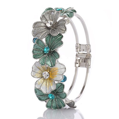 Enamel Flower Bracelet with Swarovski Crystals and14K Gold/ Silver Rhodium Plating