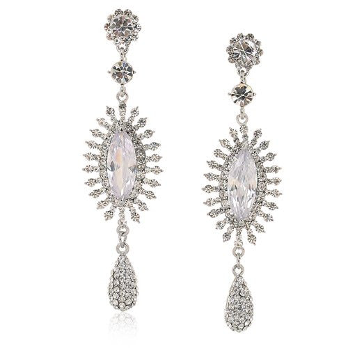 Large Drop Sun and Pear Drop Style Swarovski crystal Earrings. Available in Clear and Topaz on either 14K Gold or Silver Rhodium Plating.