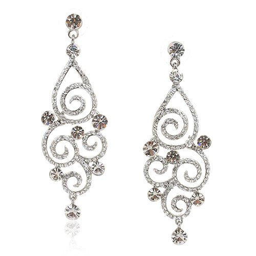 Large Swirl Style Swarovski crystal Earrings. Available in Clear or Jet with Silver Rhodium Plating