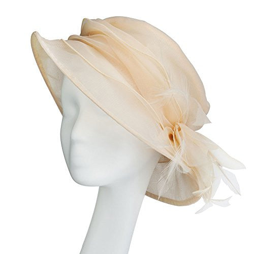 Janeojewels Formal Fascinator Headwear Hat, Mushroom-Dish Style, The Elisabeth II Hat, Soft structured in Organza-Chiffon, Brimmed and Corsage. Classic Wedding, in Peach Ivory, Cerise, Light Pink