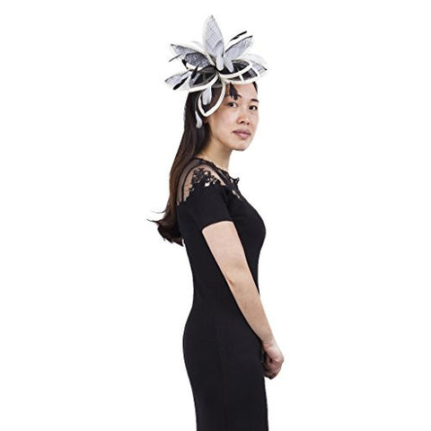 Janeo CLEMENTINE Fascinator, Extravagant Unique style, a Starburst of Petals Comb Fitting. Wild, Dainty, Designer and Fun, Four Stunning Colours Black & White, Cerise, Electric Blue, Buttercup