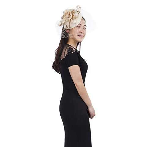 Janeo ELEANOR Fascinator, Classic Pillar Box Styling with Large Satin Rose and long looped swirls Structured Flower Theme Ornate and English Designer Headwear at a amazing price, Six Colour Options.