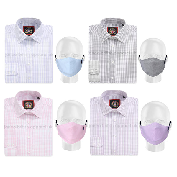 THE CLASSIC HAMPTON SHIRTS WITH FACE MASK: Janeo British Apparel, Mens Formal Check Shirt, Single Cuff