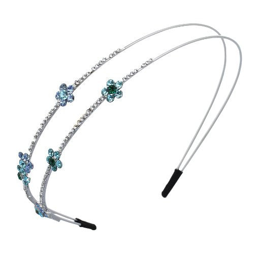 Janeo Genuine Swarovski Crystal Head Band, Tiara Style Hair Piece. Beautiful Arrangement of Aqua and Turquoise Crystal Daisies on a Uniquie Double Arch Design.