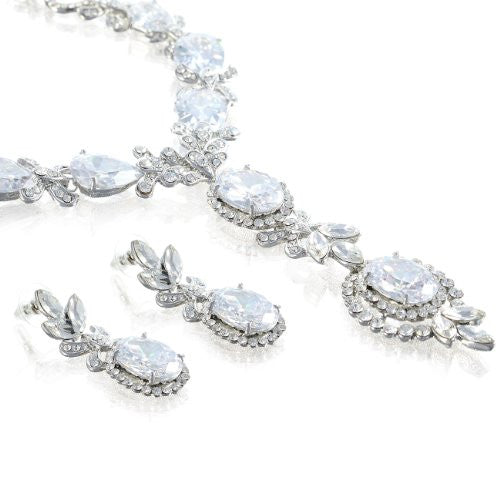 Crown Jewels Victorian Jewellery Necklace & Earrings with Large Pear Drops in a Symmetrical Decorative Setting. Stunning Bridal Decoration, For Cocktail & Evening Wear, 3 Colours